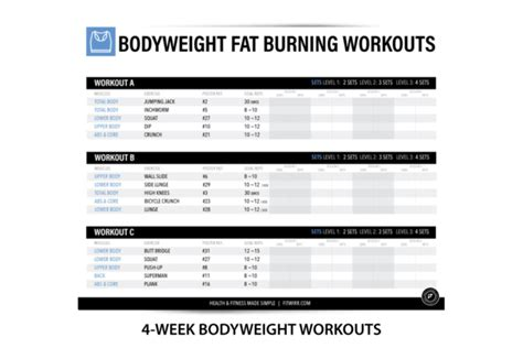 bodyweight exercise poster 4 week workout plan for