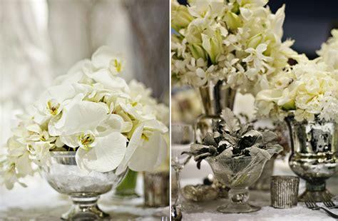 white centerpieces white wedding flowers winter wedding reception