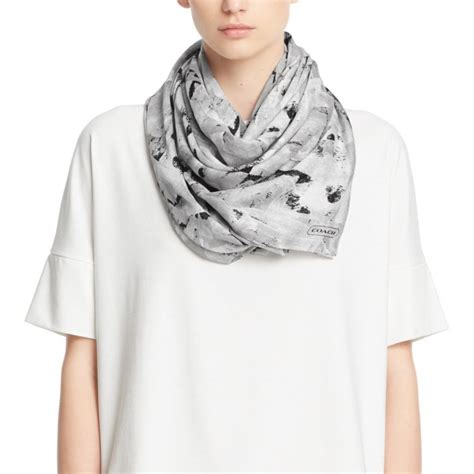 couch scarf coach abstract painted oversized square scarf lyst