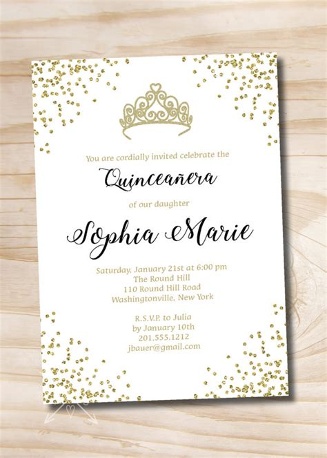 free printable crown invitations gold glitter tiara crown quinceanera quince sweet 16