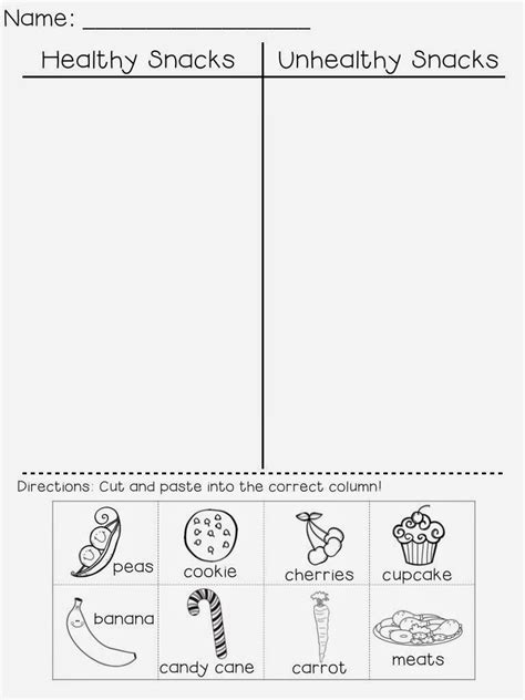 healthy and unhealthy food worksheet for preschool