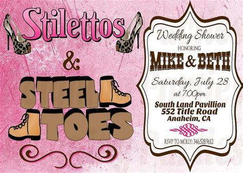 Coed Bridal Shower by Co Ed Wedding Shower Invitation Stilettos Steel Toes