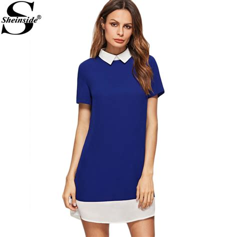 Hoodie Technics Roffico Cloth sheinside business casual clothing office dress royal blue contrast collar and hem