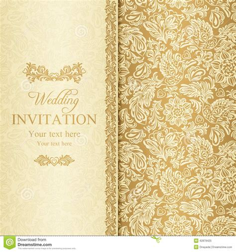 Wedding Invitation Gold Background by Baroque Wedding Invitation Gold Stock Vector Image