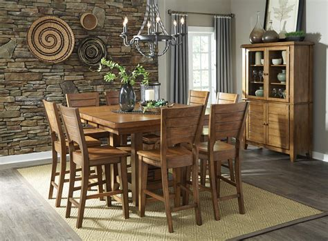 Furniture 7 Extension Dining Room Set In Graphite Furniture 7 Extension Pub Dining Room Set In Pecan By Dining Rooms Outlet