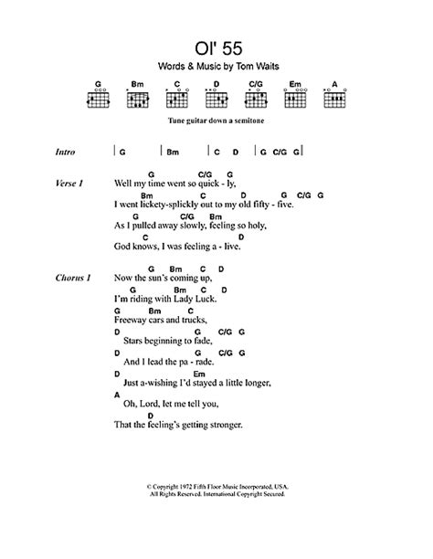 blue lyrics waits ol 55 sheet by tom waits lyrics chords 49189