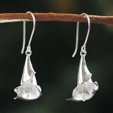 Handmade Silver Earrings Uk - unicef uk market handmade 950 silver flower