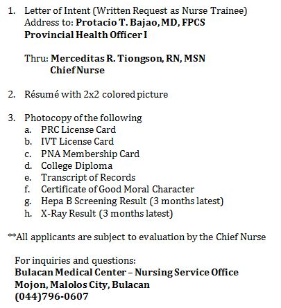 Letter Of Intent Volunteer Entry Requirements For Volunteer Nurses Bulacan Center Written Echoes
