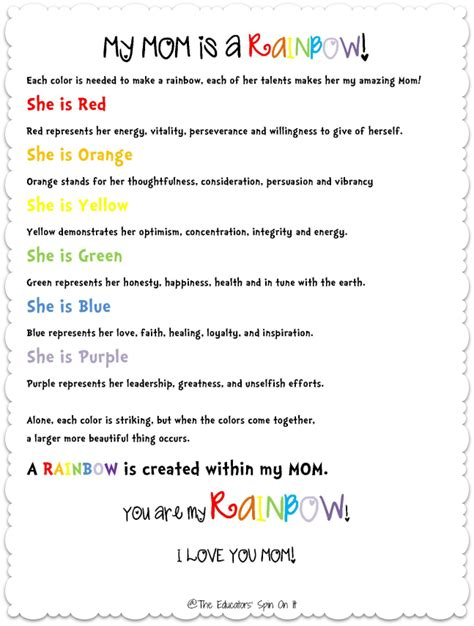 Mother s day poem and craft the educators spin on it
