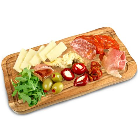 acacia wood food presentation board with groove 30cm