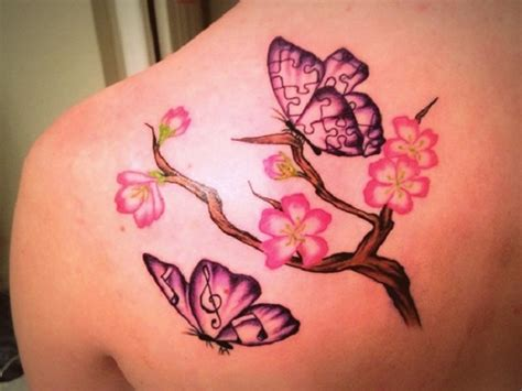 cherry blossom and butterfly tattoo designs cherry blossom flowers and butterflies tattoos on left