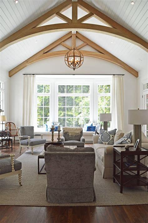 vaulted ceiling white oak beams large bay window amanda