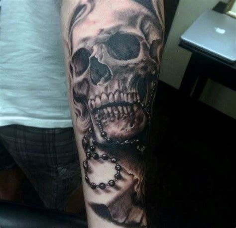 rosery tattoos skull and rosary on arm