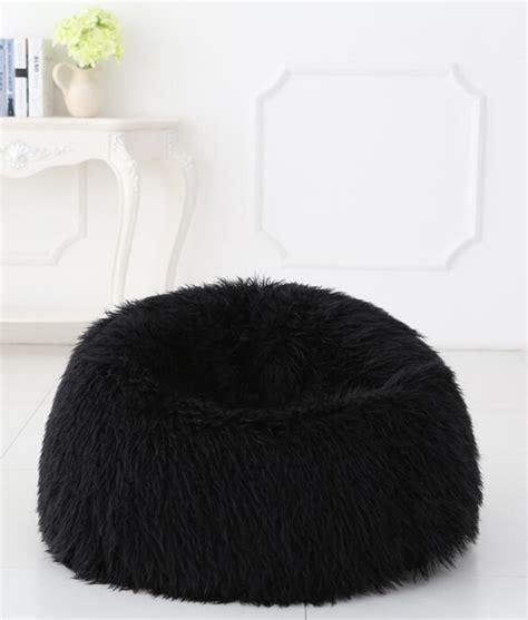 faux fur bean bag deluxe black faux fur bean bag large kloudsac