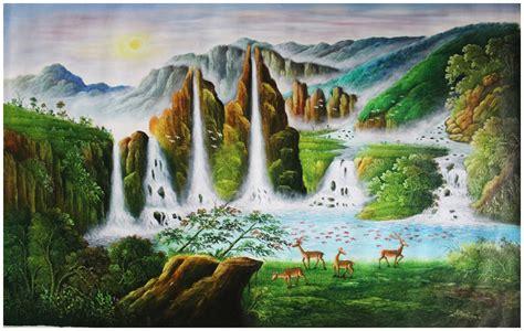 lukisan pemandangan landskap air terjun  hewan rusa