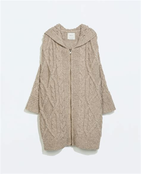 hooded cable knit cardigan zara hooded cable knit zip cardigan in beige mink lyst