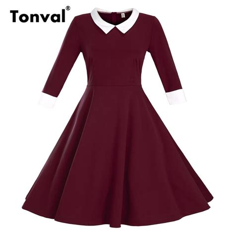 Vintage Dress Hq 2 tonval vintage pan collar dress 2 3 sleeve autumn plus size dress rockabilly 3xl