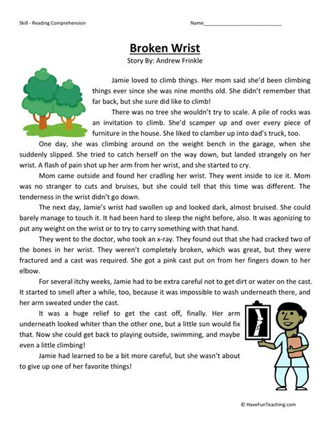 Fourth Grade Reading Worksheets by Reading Comprehension Worksheet Broken Wrist