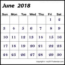 2018 Calendar June June Calendar 2018 Template Free Printable Monthly Calendars