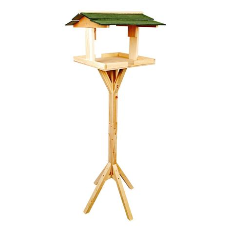 free standing traditional wooden bird table traditional