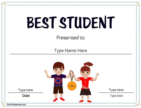 best student certificate template education certificates best student in the class