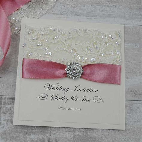 Uk Wedding Invitations by Personalised Folded Wedding Invitations Uk Ribbon