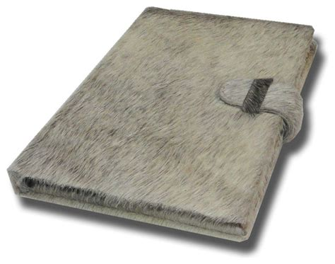 Rustic Desk Accessories Journal In Hairon Grey Leather Rustic Desk Accessories By Trovati Studio