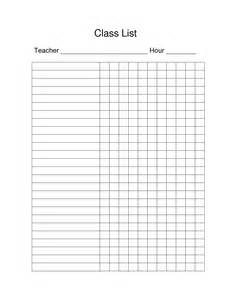 7 best images of class list blank printable blank class