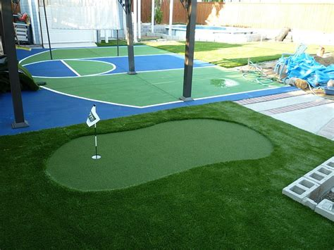 backyard landscaping with basketball court designs