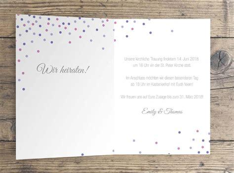 Hochzeitseinladung Konfetti by Quot Happy Confetti Quot Hochzeitseinladung Klappkarte Paper