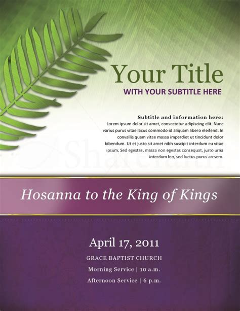 palm sunday church flyer template flyer templates