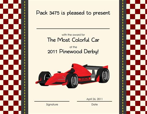 pinewood derby certificates car interior design