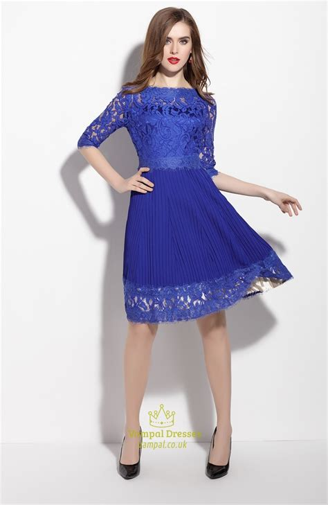 43564 Blue Royal Lace S M L Dress Le230517 Import Royal Blue Lace Applique Fit And Flare Dress With 3 4