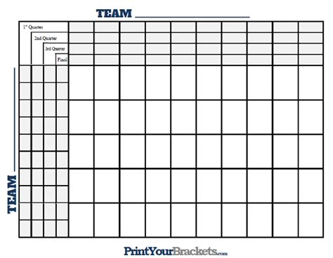 100 square football pool template printable 100 square grid