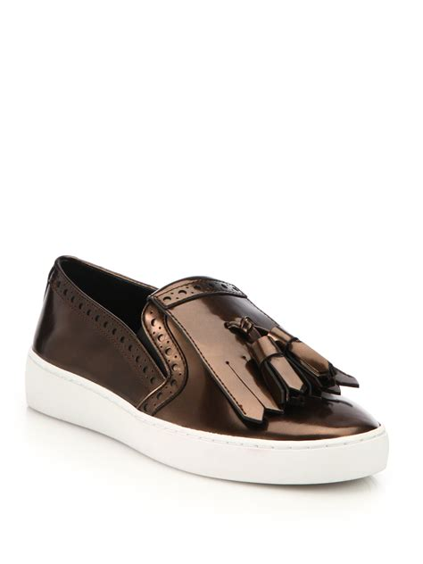slip on sneakers michael kors vesey patent leather fringe slip on sneakers