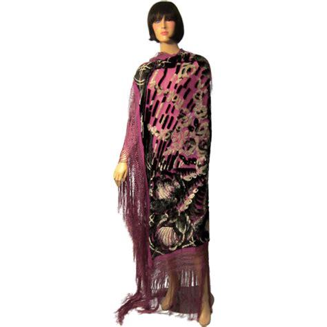 1920 s deco black and white cut silk velvet shawl on