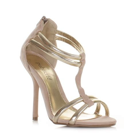 high heel sandals gold womens gold high heel gladiator strappy sandals