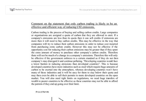Carbon Essay by Essay On Carbon Trading