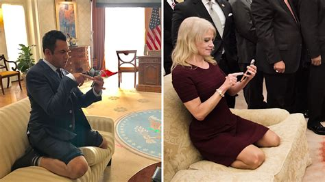 designated survivor white house set kal penn spoofs kellyanne conway couch photo on