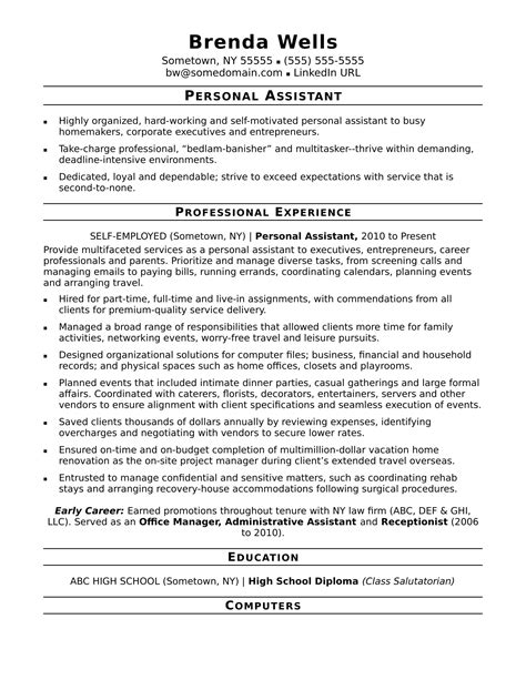 exle of a resume for a assistant personal assistant resume sle