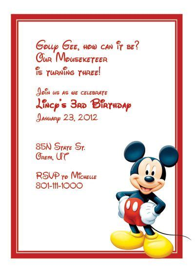 Mickey Birthday Invitation Card Template by Mickey Mouse Birthday Invitation Template Birthday