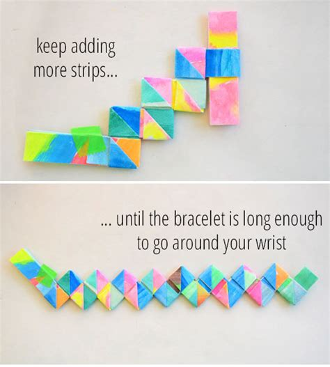 How To Make A Paper Wristband - how to make folded paper bracelets picklebums