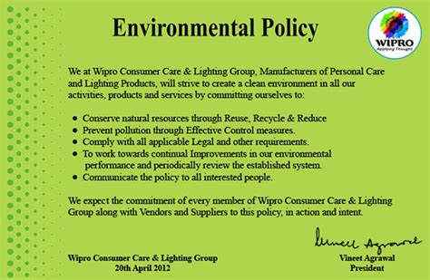 environmental policy design environmental policy wipro lighting