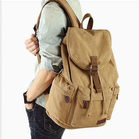 Drawstring Canvas Backpack flap travel canvas backpack with usb interface drawstring