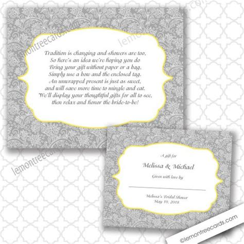 Baby Shower No Wrapping Paper Wording by Baby Showers Damasks And Gray On