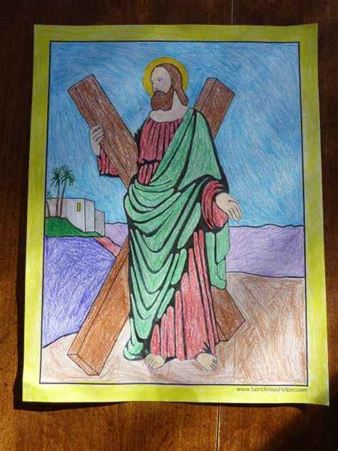 saint andrew  apostle prayer coloring worksheet