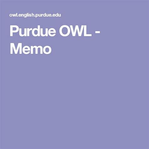 Memo Format Owl Purdue 17 Best Images About Writing On Student Centered Resources Improve And