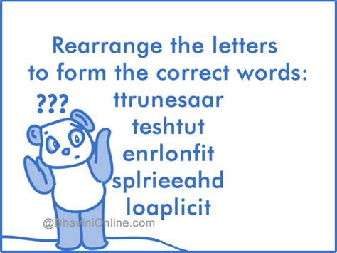 5 Letter Words Riddle word riddle rearrange the letters to form correct