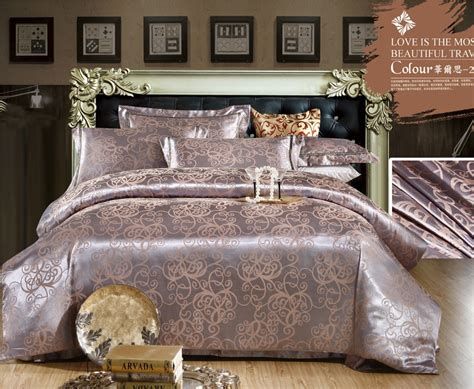 brown gold luster tencel and cotton bedding set satin