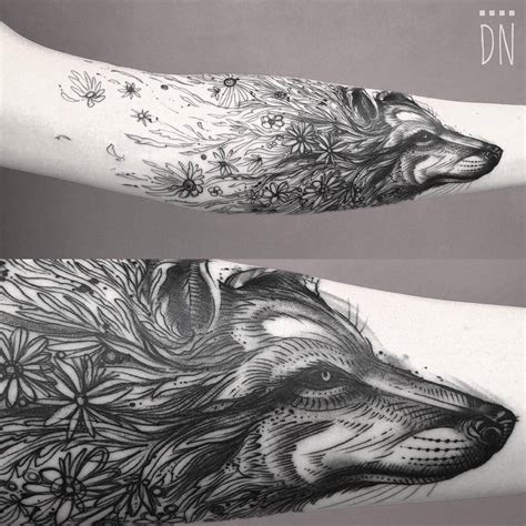 sketch work surrealist style floral wolf tattoo by dino